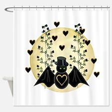 Bat in Moon Shower Curtain