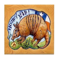 Armadillo Texas Howdy Tile Coaster