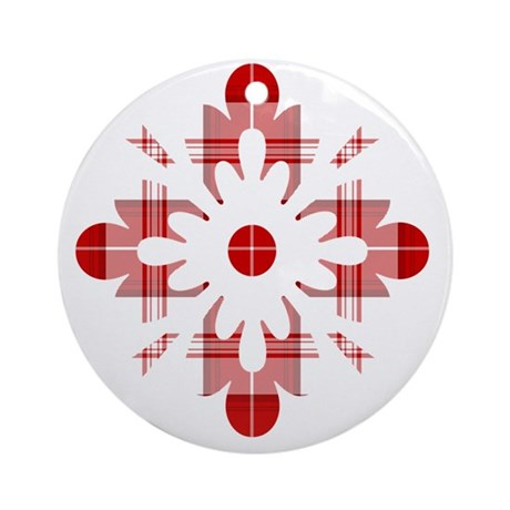 Tartan Snowflake Round Ornament