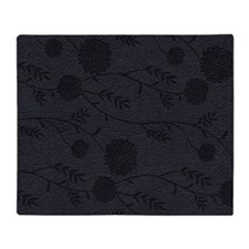 Leather Floral Pattern Effect Throw Blanket