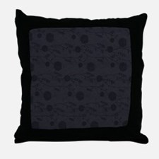 Black Leather And Flower Effect Throw Pillow