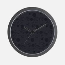 Black Leather And Flower Effect Wall Clock