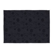 Black Leather And Flower Effect 5'x7'Area Rug