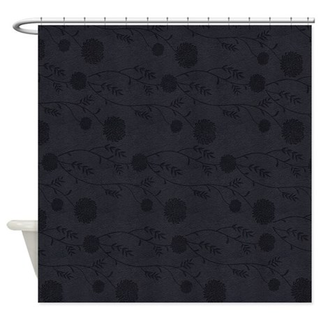 Curtains Ideas black leather shower curtain : Black Leather And Flower Effect Shower Curtain by MoonlakeDesigns