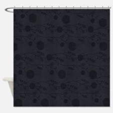 Black Leather And Flower Effect Shower Curtain