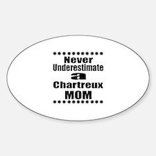 Never Underestimate chartreux Desig Sticker (Oval)