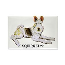 Squirrel Alert Fox Terrier Rectangle Magnet