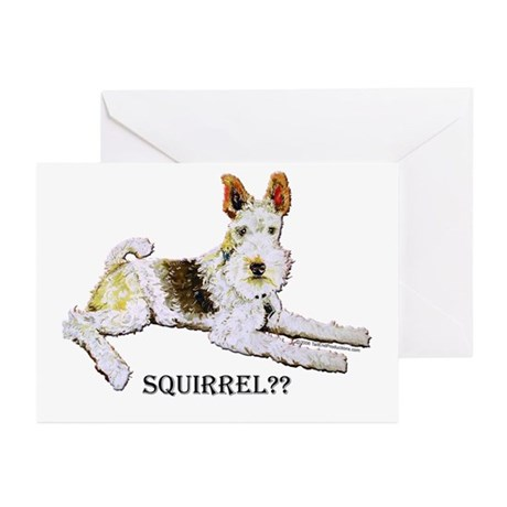 Squirrel Alert Fox Terrier Greeting Cards (Pk of 1