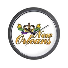New Orleans Mardi Gras Crown Wall Clock
