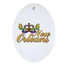 New Orleans Mardi Gras Crown Oval Ornament