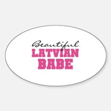 Latvian Babe Oval Decal