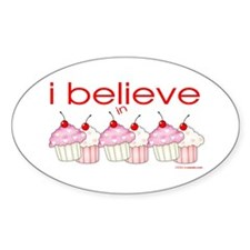 I believe in cupcakes Oval Decal