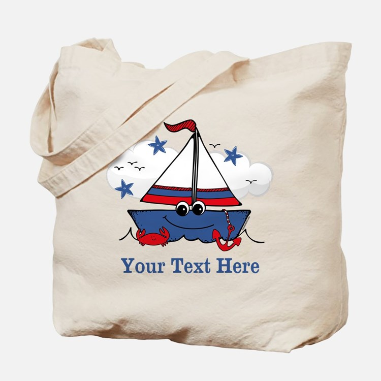 Cute Little Sailboat Personalized Tote Bag