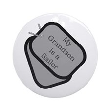 My Grandson is a Sailor dog tag Ornament (Round)