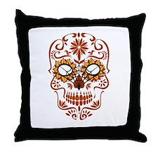 Orange Sugar Skull Throw Pillow