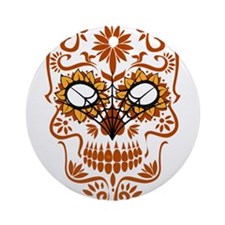 Orange Sugar Skull Ornament (Round)