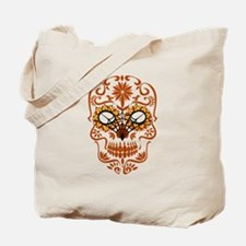 Orange Sugar Skull Tote Bag
