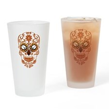 Orange Sugar Skull Drinking Glass