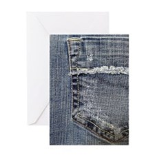 Tattered Jeans Pocket Greeting Card