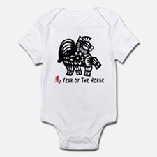 Year of The Horse Paper Cut Design Infant Bodysuit