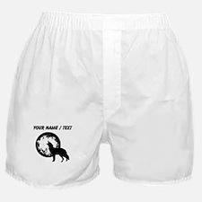 Custom Wolf Howling At Moon Boxer Shorts