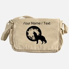 Custom Wolf Howling At Moon Messenger Bag