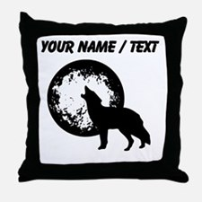 Custom Wolf Howling At Moon Throw Pillow