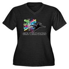 Girl with Goals Women's Plus Size V-Neck Dark T-Sh