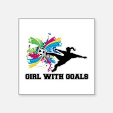 "Girl with Goals Square Sticker 3"" x 3"""