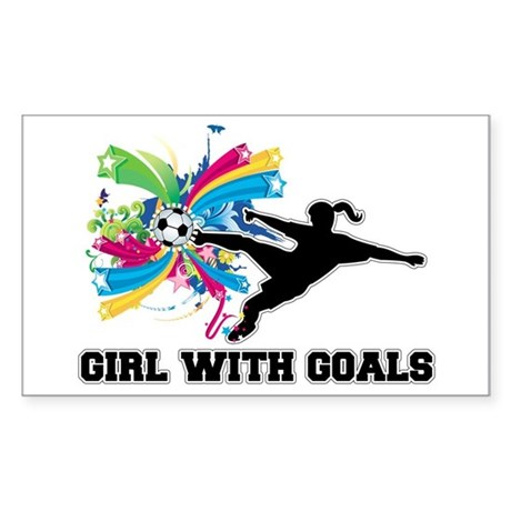 Girl with Goals Sticker (Rectangle)
