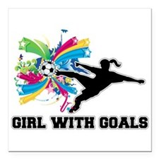 "Girl with Goals Square Car Magnet 3"" x 3"""