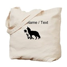 Custom Black Howling Wolf Silhouette Tote Bag