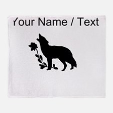 Custom Black Howling Wolf Silhouette Throw Blanket