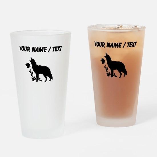 Custom Black Howling Wolf Silhouette Drinking Glas