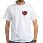 Masonic Square and Compasses Chevron White T-Shirt