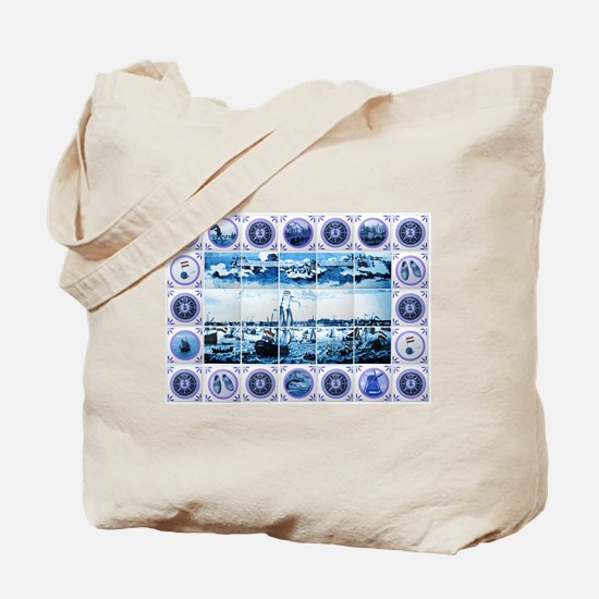 Vintage Old Dutch Delftware Style Mural Tote Bag
