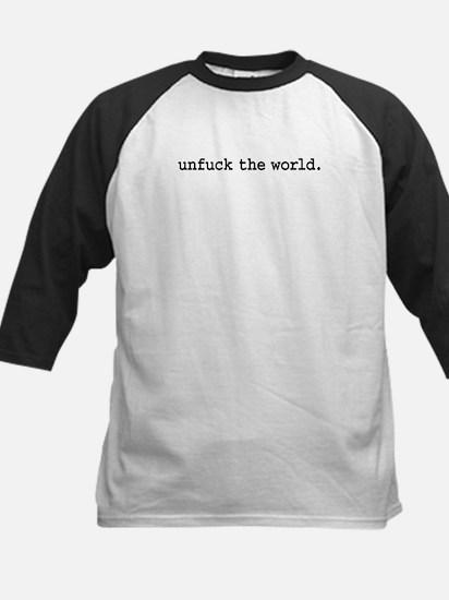 unfucktheworldblk.png Kids Baseball Jersey