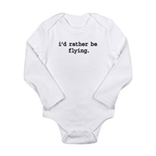 idratherbeflyingblk.png Long Sleeve Infant Bodysui