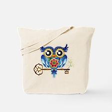 Owl on Skeleton Key Tote Bag
