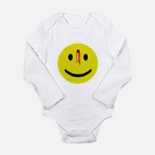 4-3-bulletholesmiley.png Long Sleeve Infant Bodysu