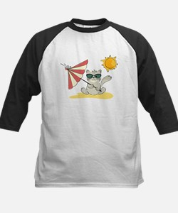 Cool Beach Cat with Umbrella and Sunglasses Baseba