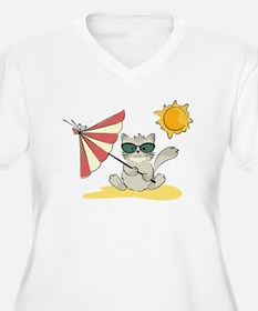 Cool Beach Cat with Umbrella and Sunglasses Plus S