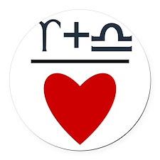 Aries + Libra = Love Round Car Magnet