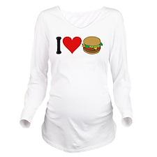 3-ilovehamburgersblk.png Long Sleeve Maternity T-S