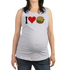 3-ilovehamburgersblk.png Maternity Tank Top
