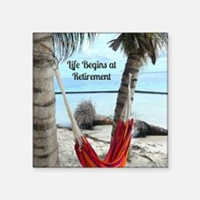 "Hammock on the Beach - Reti Square Sticker 3"" x 3"""