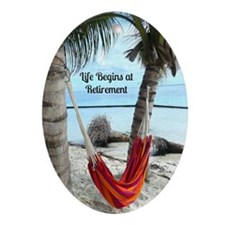 Hammock on the Beach - Retirement Oval Ornament