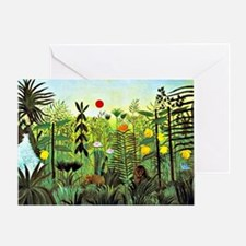 Exotic Landscape with Lion and Lione Greeting Card