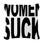 womensuckblk.png Woven Throw Pillow