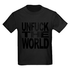 unfucktheworldblk.png Kids Dark T-Shirt